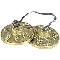 Fenteer チベット 仏教 瞑想 シンバルベル 全2材質選べる - 黄銅