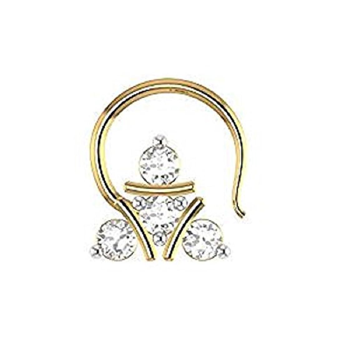 策定する悪行硫黄silvergemking D/vvs1ダイヤモンド14 KイエローゴールドFN。925スターリング鼻ピアスリングピンスタッド