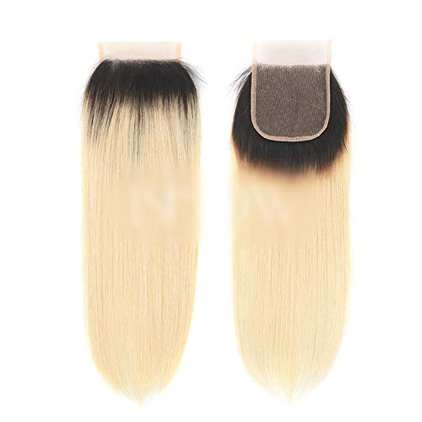 高潔な抹消文句を言うWASAIO ブラジル人毛サテン織りで閉鎖ボディ曲がっていないブラック2トーン色のレースフロンタル4X4無料パート8を「-20」金髪にします (色 : Blonde, サイズ : 12 inch)