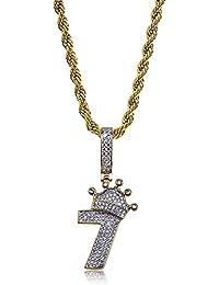 JINAO Hip Hop Jewelry ティアラ Tiara Necklace ラッキーナンバー Seven Necklace 数字7 幸運数字 キュービックジルコニア 18Kゴールドメッキ ヒップホップ ネックレス