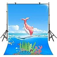 VVM バックドロップ カートゥーン オーシャン ワールド ブルースカイ シーピンク クジラ 子供 誕生日 バナー ベビーシャワー フォトブース 新生児 写真撮影用小道具 5x7フィート LFVV040