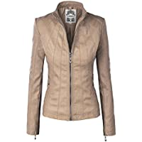 Made By Johnny MBJ Womens Faux Leather Zip Up Moto Biker Jacket with Stitching Detail