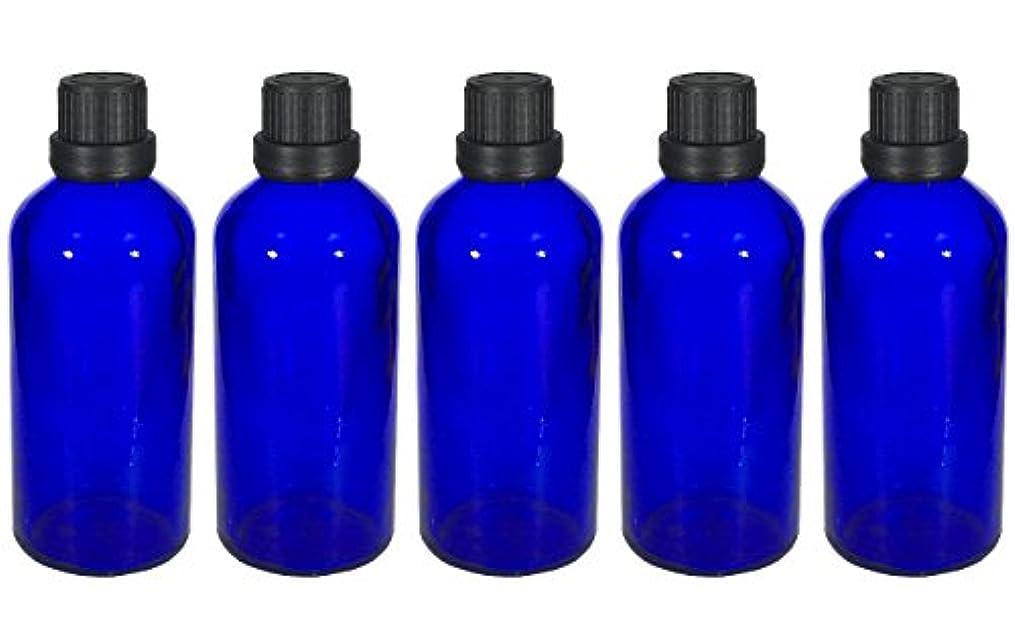 わかる故意の料理をする遮光瓶 100ml 5本セット ガラス製 アロマオイル エッセンシャルオイル 保存用 青色 ブルー