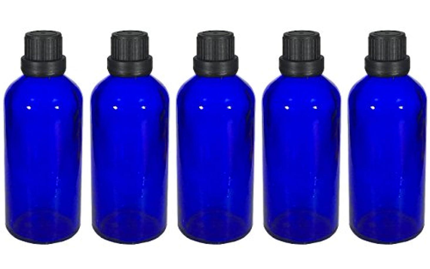 危険にさらされている活気づける作動する遮光瓶 100ml 5本セット ガラス製 アロマオイル エッセンシャルオイル 保存用 青色 ブルー