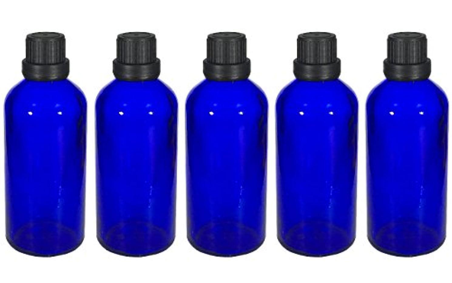 怖がって死ぬ周辺シーズン遮光瓶 100ml 5本セット ガラス製 アロマオイル エッセンシャルオイル 保存用 青色 ブルー