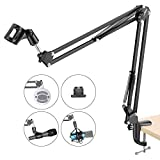 Neewer Adjustable Microphone Suspension Boom Scissor Arm Stand, Compact Mic Stand Made of Durable Steel for Radio Broadcasting Studio, Voice-Over Sound Studio, Stages, and TV Stations