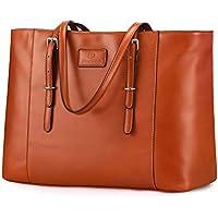 """Plambag 15.6"""" Laptop Tote Handbag for Women, Faux Leather Shoulder Bag with Adjustable Soft Straps"""