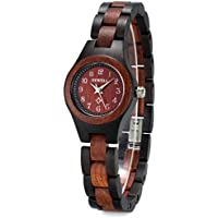 Bewell 木製腕時計 レディース 日本製クオーツ 軽量 天然木 腕時計 ファッション 人気 女性 ブレスレット 母の日 ギフト 贈り物(黒檀と赤檀)