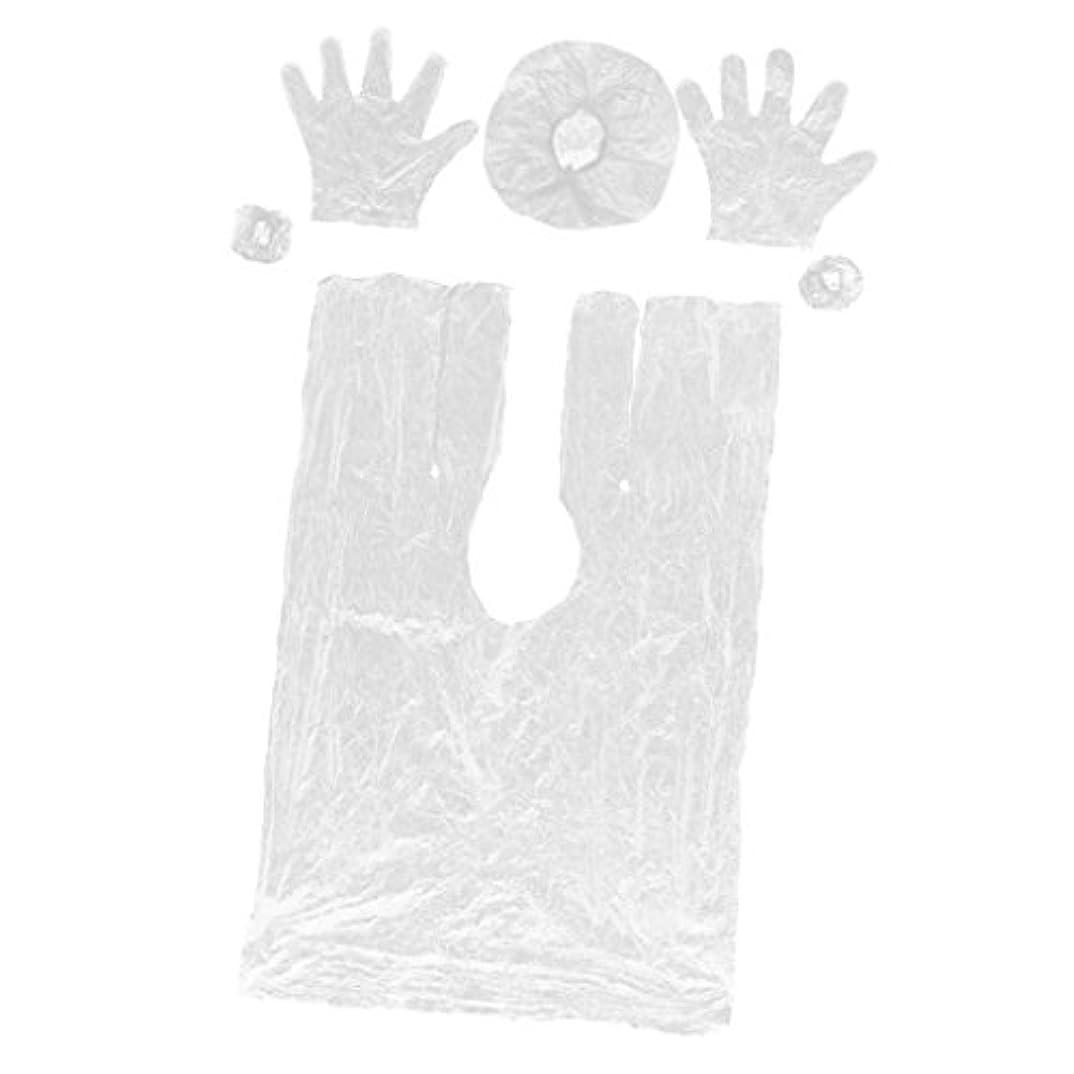 Toygogo ツール弾性キャップ、理髪ガウンケープショール、手袋、イヤーキャップイヤーマフセットを使用した使い捨てスパヘアサロンカラー染料キットの着色