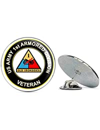 U.S. Army Veteran 1st Armored Division 0.75インチ ラペルハットピン タイタック ピンバック