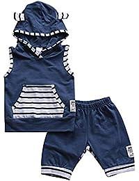 Sylvamorning  ストライプ パジャマ キッズ 子供用 上下セットベビー服 タンクトップ 男の子 女の子  袖なし 上着 ショートパンツ 子供パジャマ ホームウェア ルームウェア 薄手 ズボン 部屋着 2点セット