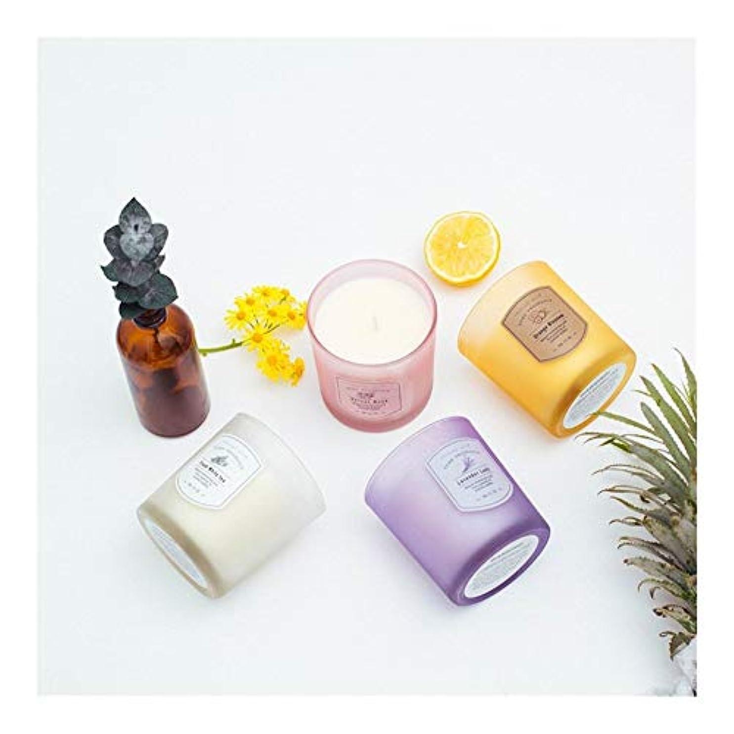 静かに剃る満足させるGuomao ガラスキャンドルキャンドルセット無煙フレグランスジュエリーホームアクセサリー (色 : Purple lavender)