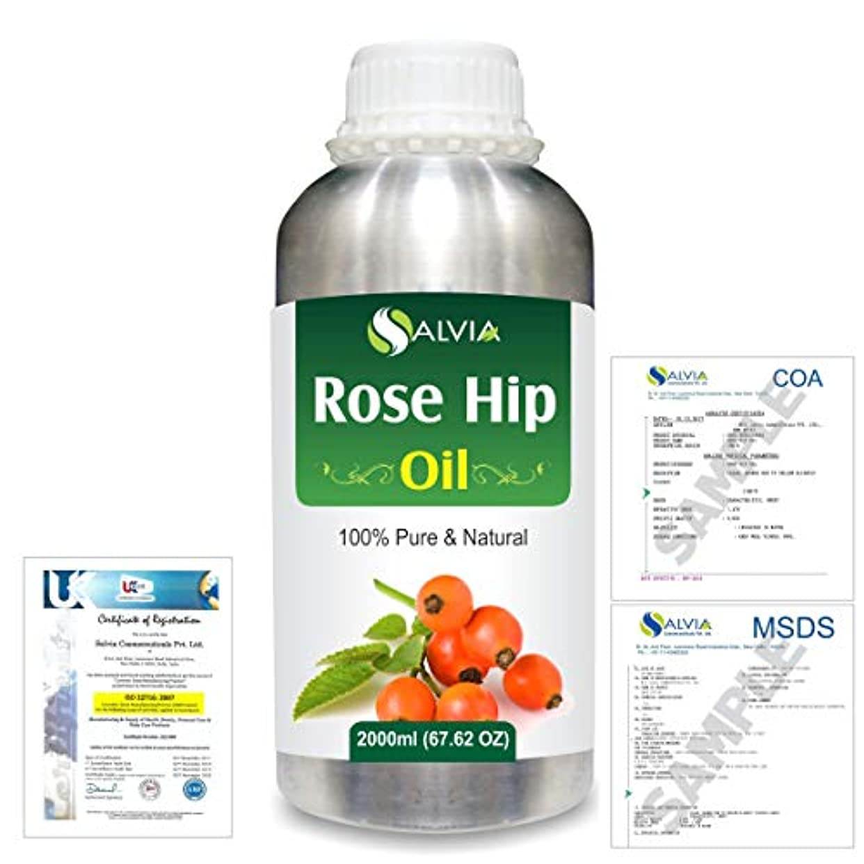 バーマド高潔なコストRose Hip (Rosa moschata) Natural Pure Undiluted Uncut Carrier Oil 2000ml/67 fl.oz.