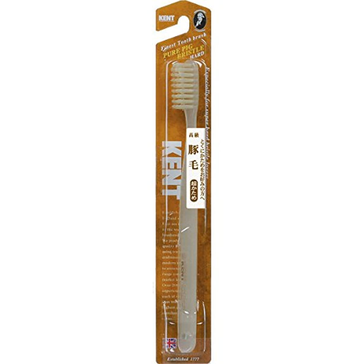 見つける温度計ストライプKENT 豚毛歯ブラシ ラージヘッド 超かため KNT-2433 ×6個セット