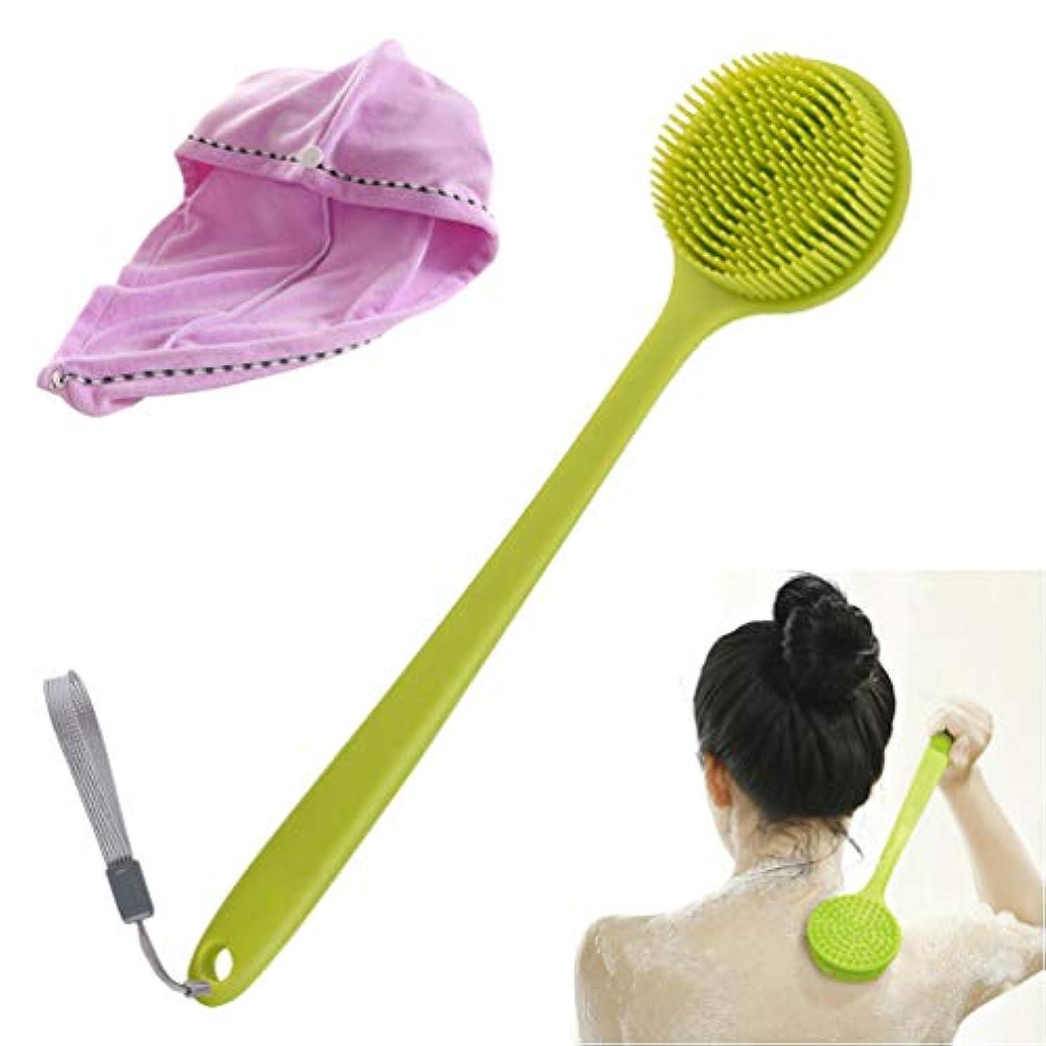 ボディブラシそしてヘアドライタオル, Vibury ロングハンドル シリコーン シャワーブラシ背中 体洗いブラシ やわらか お風呂ブラシ バスブラシ 多機能 シャワーブラシ クリーニングスクラバー そして 柔らかい ヘアキャップ付き