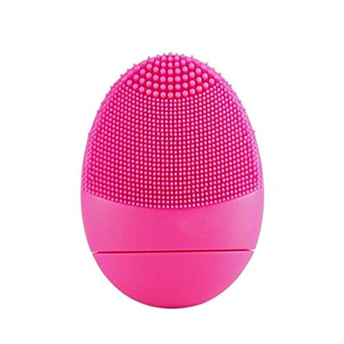 膨らませる不可能な申し立てる電気シリコーンクレンジング器具、超音波洗浄ポータブルUSBフェイシャルマッサージャーディープエクスフォリエイティングクリーンポアジェントル&クレンジングフェイシャル (Color : Red)