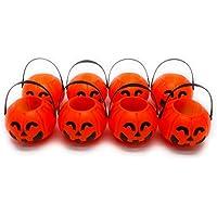 Happy Spring ハロウィン 飾り 小物入れ 吊り下げ かぼちゃ セット ライト オレンジ (小8個)