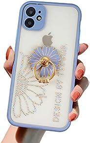iPhone 11 Pro Max 手機殼 戒指 可愛 閃亮 iPhone 11 Pro Max 手機殼 帶環 時尚 透明 花紋 半透明 啞光加工 智能手機殼 11 Pro Max 環套 人氣 女性 存在感出眾 帶掛繩孔