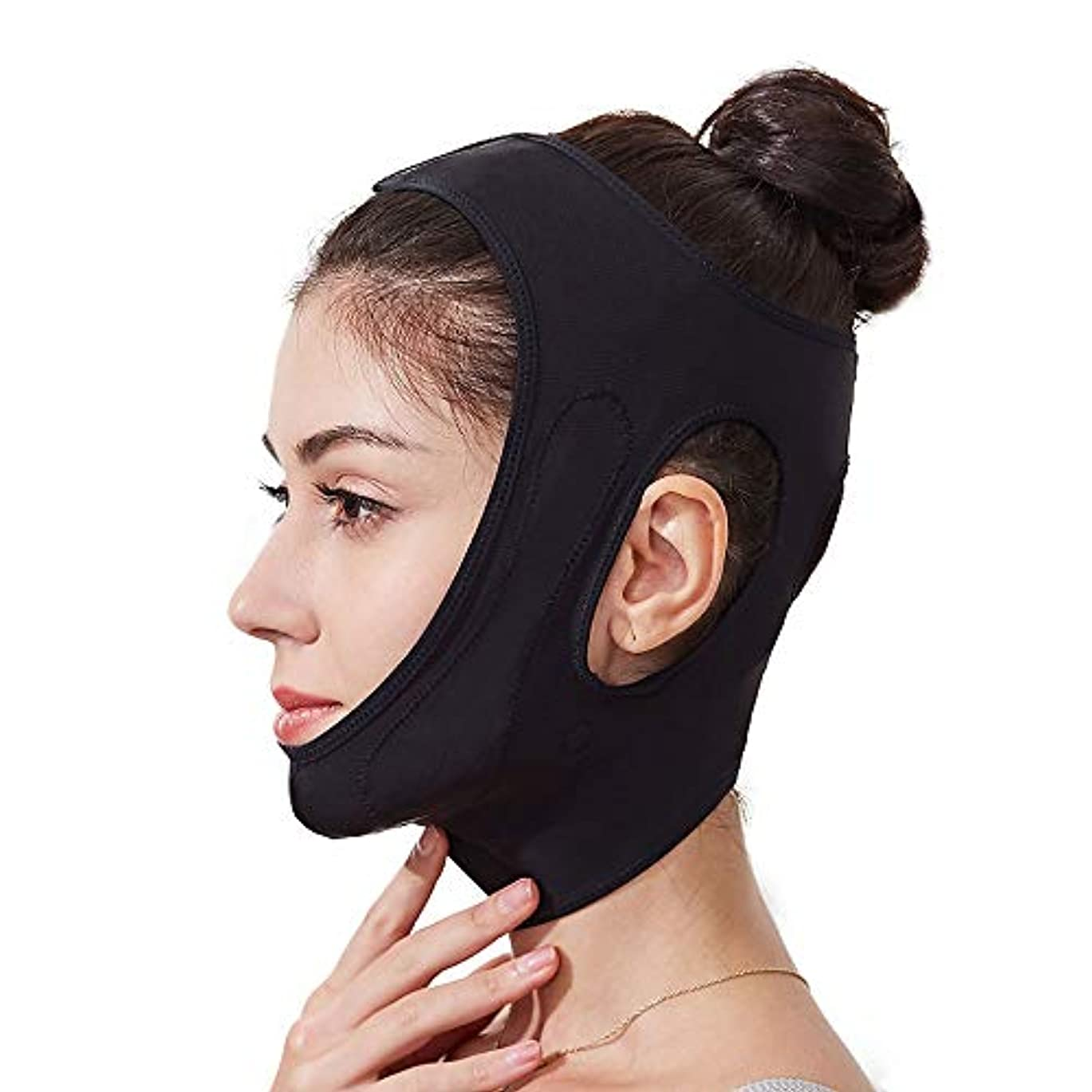 件名スクリューわがままHEMFV フェイスリフティングスリムチンはバンドチンケアマスクを持ち上げリフティング包帯、通気性アンチリンクルリフトV対面を (Color : Black)
