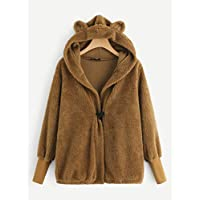INFASHION Women's Camel Preppy Teddy Hooded Jacket with Ears with Bishop Sleeve Button