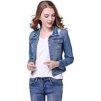 【TaoTech】 綿100% デニム ジャケット レディース ダメージ ショート丈 Gジャン ジージャン 大きいサイズ