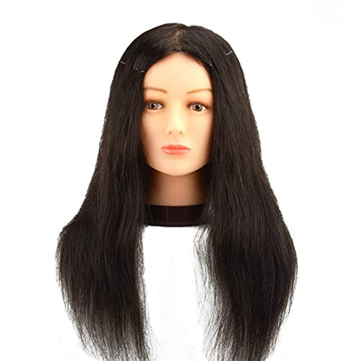 最大化する性別呼吸理髪店パーマ髪染め練習かつらヘッドモデルリアルヘアマネキンヘッド化粧散髪練習ダミーヘッド,20inches