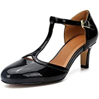 fereshte Women's Men's Mary Jane T-Strap Round Toe Mid Kitten Heel Pumps Shoes
