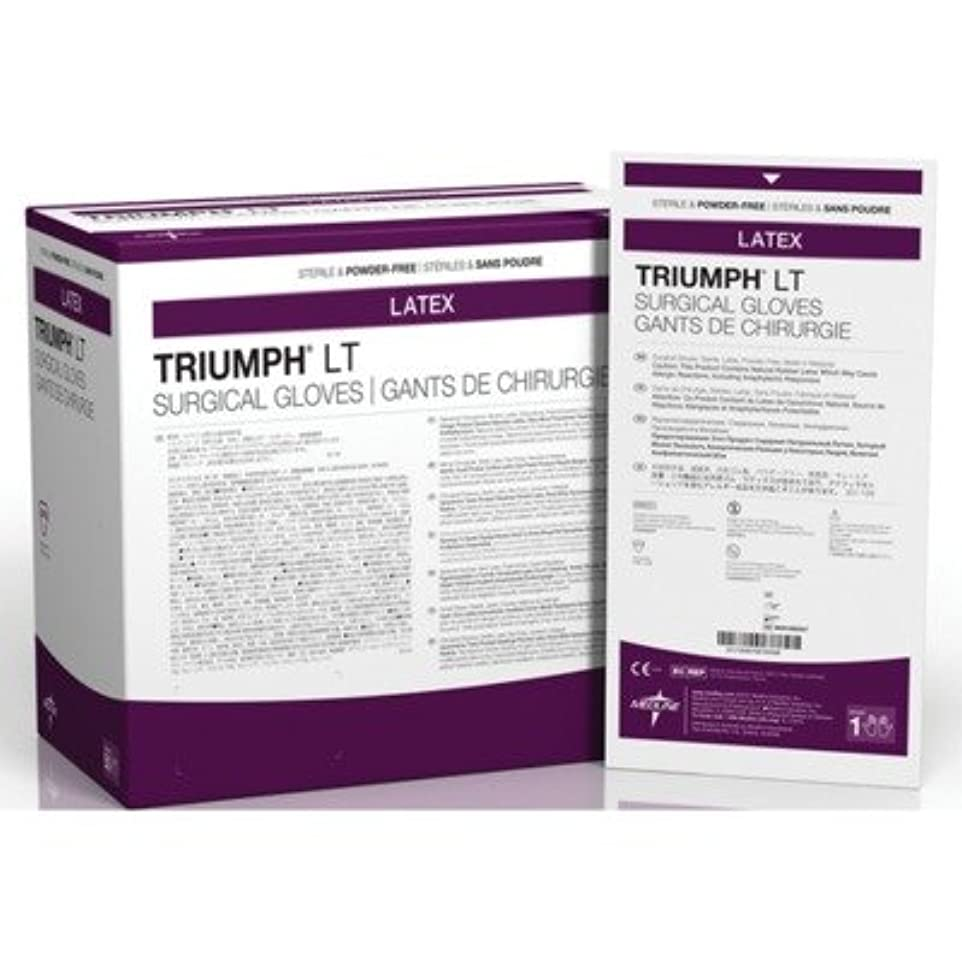 フレット笑乗算Medline MDS108065LT Triumph LT Sterile Powder-Free Latex Surgical Glove, Size 6.5, White (Pack of 200) by Medline