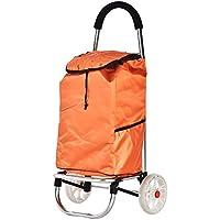 Super Kh® ポータブルショッピングカート車輪ショック防止ミュート付き食料品トロリー旧式の食料品買い物カゴ折りたたみ式31.5x33x88cm * (色 : Orange)