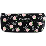 Spaufu Cute Cartoon Pencil Case Form of Peach Pattern for Girls Students Simple Canvas Stationery Bag with Zipper Black White 1pack