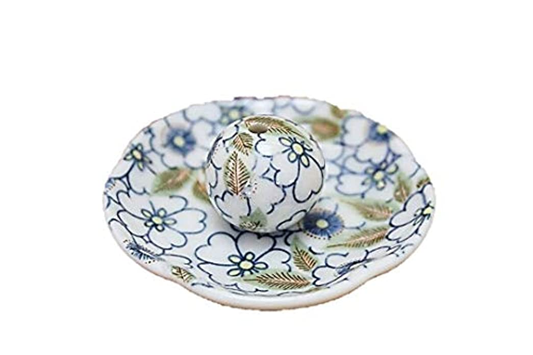 征服者相互接続半円藍華柳 花形香皿 お香立て お香たて 日本製 ACSWEBSHOPオリジナル