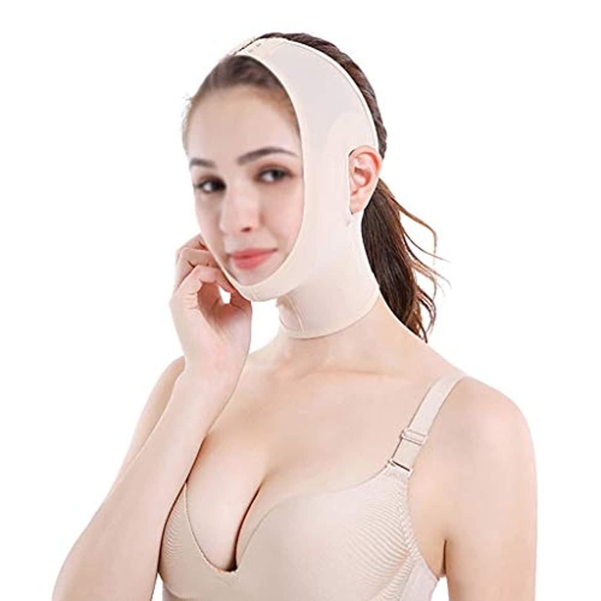 に沿ってプロフェッショナル同化GLJJQMY ベルト痩身ベルト薄い顔の包帯の小さいV顔の顔の薄い顔のアーティファクトの薄い顔の固定マスク 顔用整形マスク (Size : L)