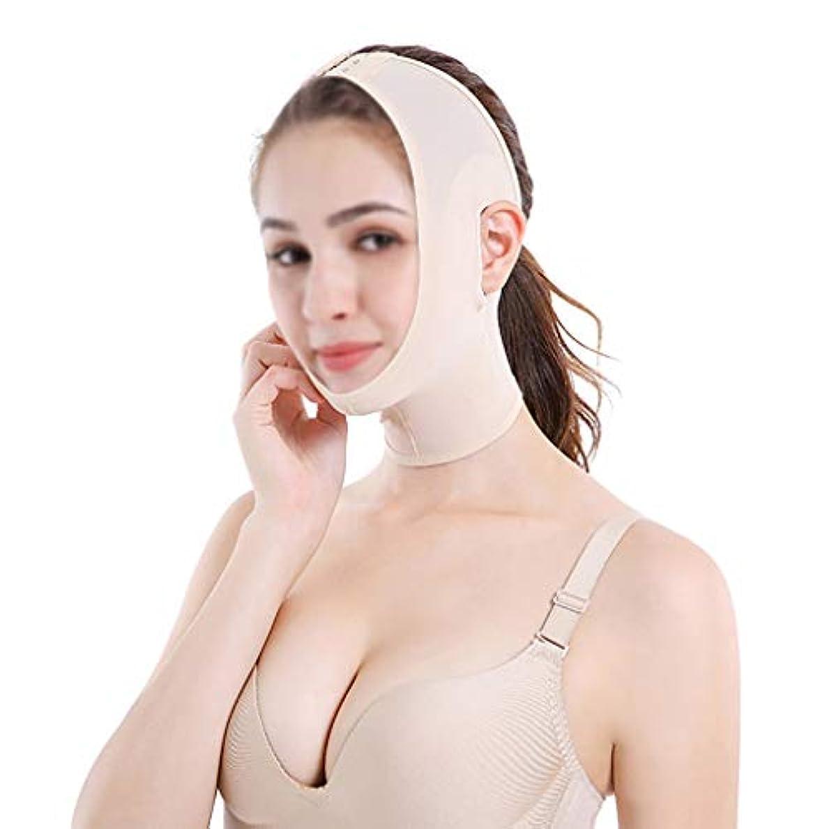 声を出して文明スペイン語GLJJQMY ベルト痩身ベルト薄い顔の包帯の小さいV顔の顔の薄い顔のアーティファクトの薄い顔の固定マスク 顔用整形マスク (Size : L)