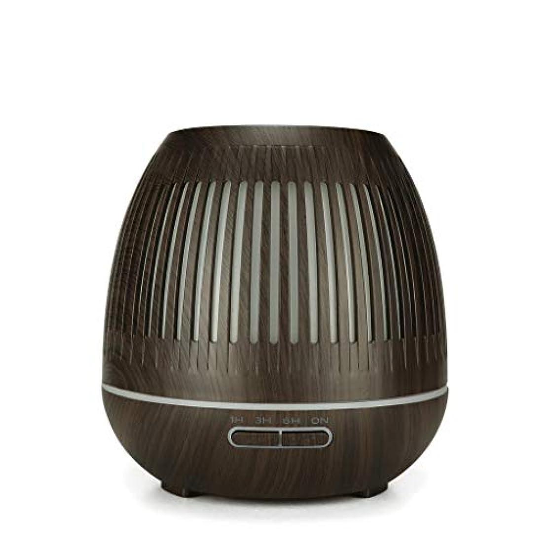 懺悔たとえベッツィトロットウッド400ミリリットル超音波クールミスト加湿器付きカラーledライト用ホームヨガオフィススパ寝室ベビールーム - ウッドグレインディフューザー (Color : Dark wood grain)