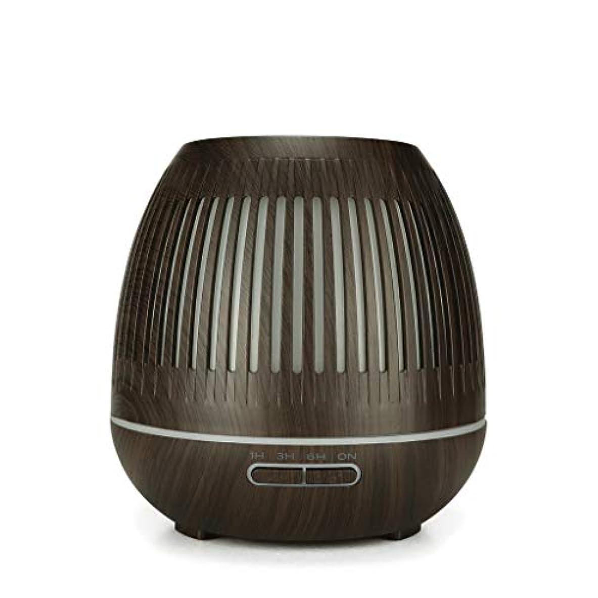 オーバーフロー推進力ハーフ400ミリリットル超音波クールミスト加湿器付きカラーledライト用ホームヨガオフィススパ寝室ベビールーム - ウッドグレインディフューザー (Color : Dark wood grain)
