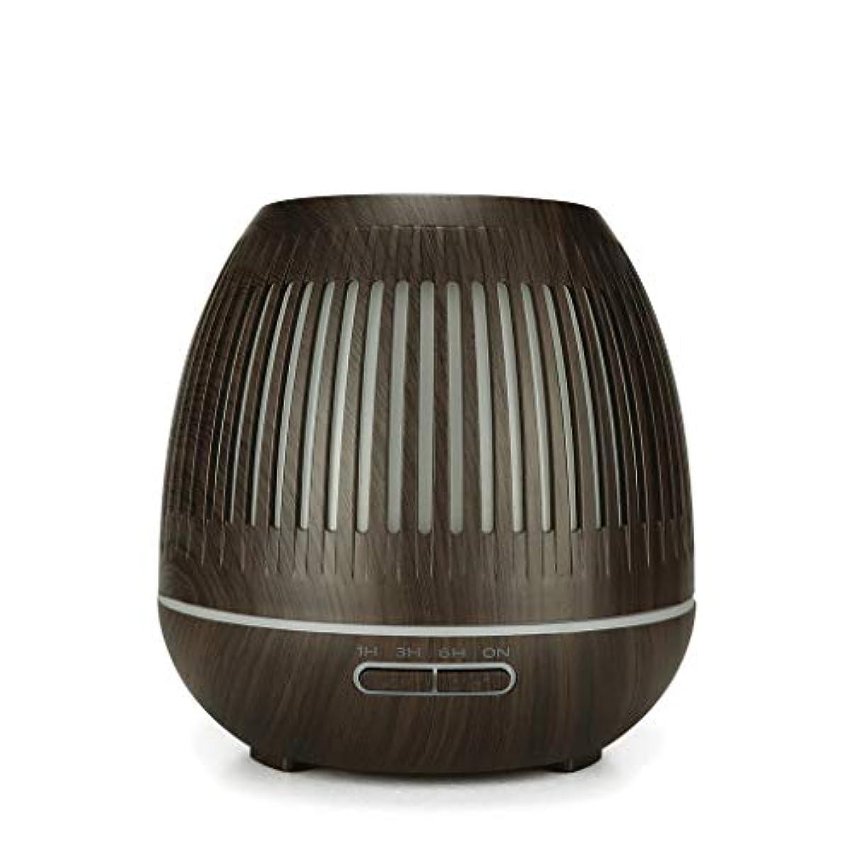 データ心臓そばに400ミリリットル超音波クールミスト加湿器付きカラーledライト用ホームヨガオフィススパ寝室ベビールーム - ウッドグレインディフューザー (Color : Dark wood grain)