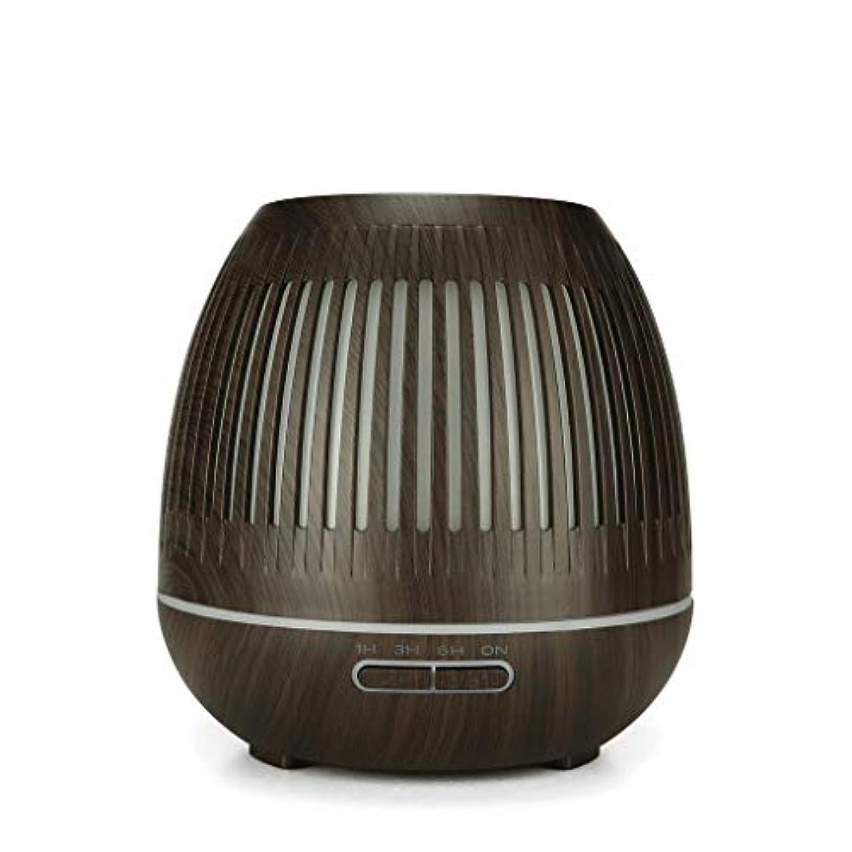 戦争興味テレビ400ミリリットル超音波クールミスト加湿器付きカラーledライト用ホームヨガオフィススパ寝室ベビールーム - ウッドグレインディフューザー (Color : Dark wood grain)