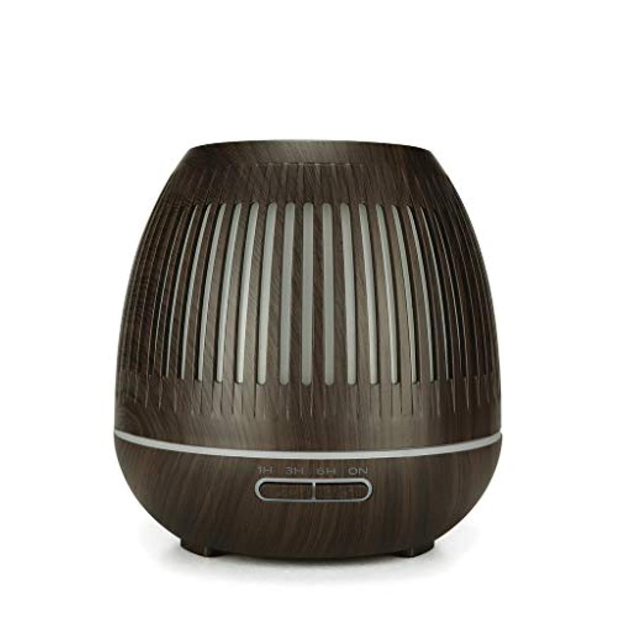 文字通りロゴ冒険者400ミリリットル超音波クールミスト加湿器付きカラーledライト用ホームヨガオフィススパ寝室ベビールーム - ウッドグレインディフューザー (Color : Dark wood grain)