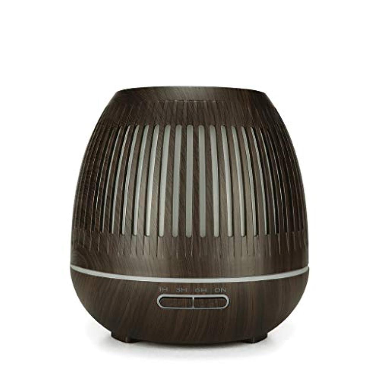 シンカン弁護士信仰400ミリリットル超音波クールミスト加湿器付きカラーledライト用ホームヨガオフィススパ寝室ベビールーム - ウッドグレインディフューザー (Color : Dark wood grain)