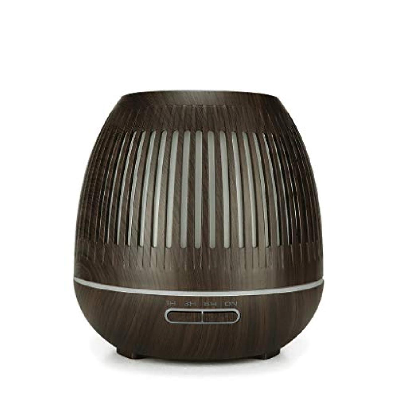 経歴束ねるマザーランド400ミリリットル超音波クールミスト加湿器付きカラーledライト用ホームヨガオフィススパ寝室ベビールーム - ウッドグレインディフューザー (Color : Dark wood grain)