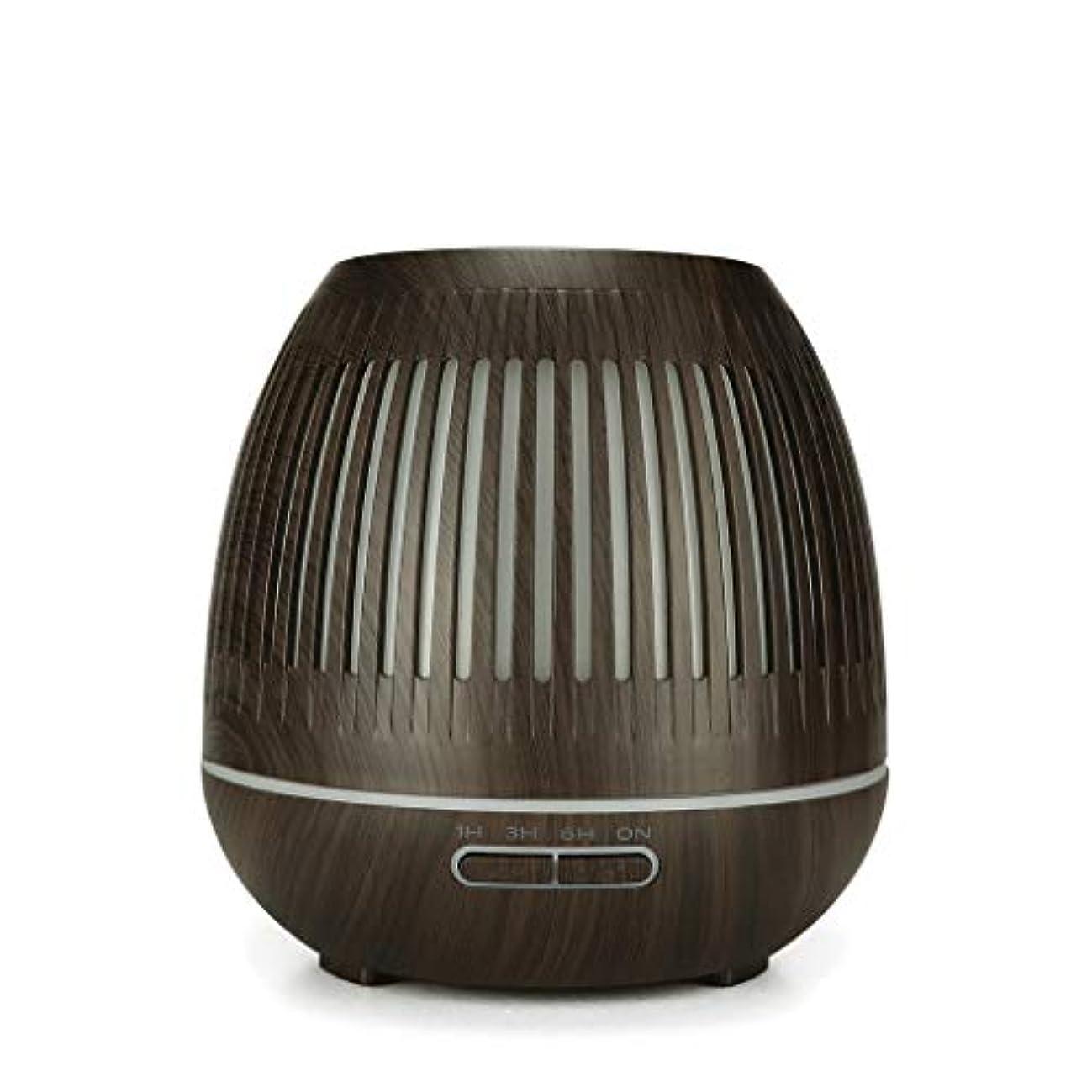 アサー入口ブロンズ400ミリリットル超音波クールミスト加湿器付きカラーledライト用ホームヨガオフィススパ寝室ベビールーム - ウッドグレインディフューザー (Color : Dark wood grain)
