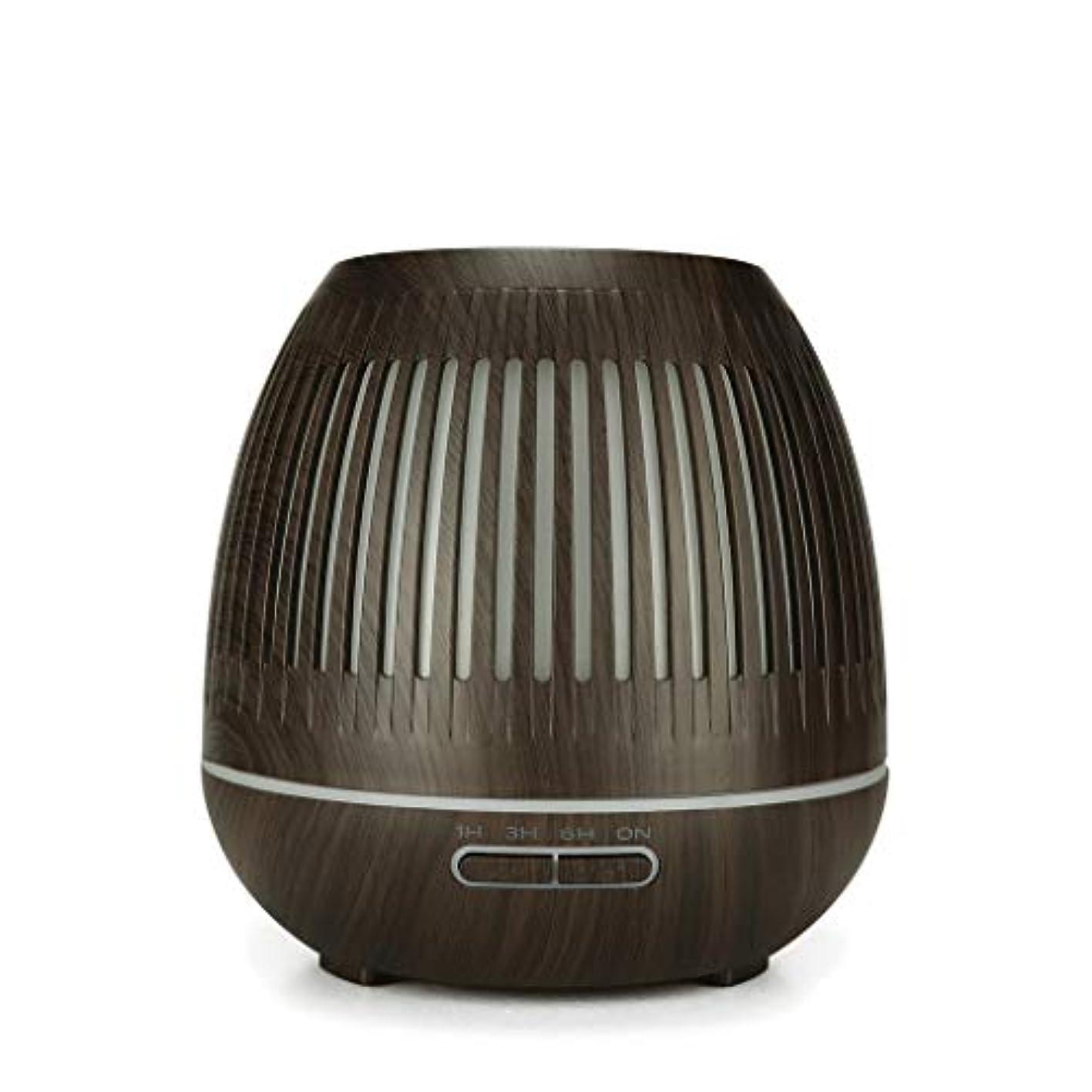 泥棒キュービック雄弁な400ミリリットル超音波クールミスト加湿器付きカラーledライト用ホームヨガオフィススパ寝室ベビールーム - ウッドグレインディフューザー (Color : Dark wood grain)