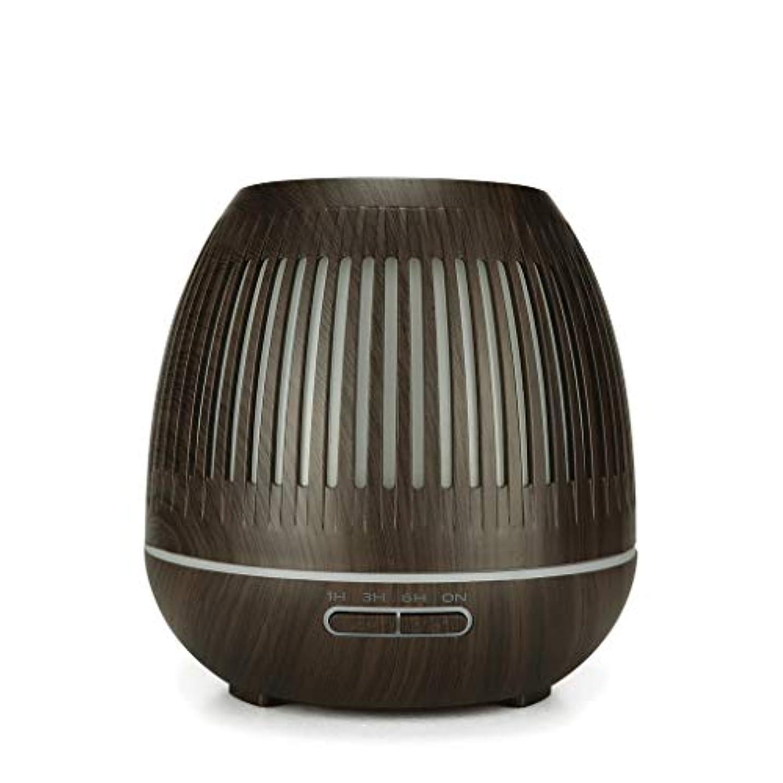 戦略失敗飢えた400ミリリットル超音波クールミスト加湿器付きカラーledライト用ホームヨガオフィススパ寝室ベビールーム - ウッドグレインディフューザー (Color : Dark wood grain)