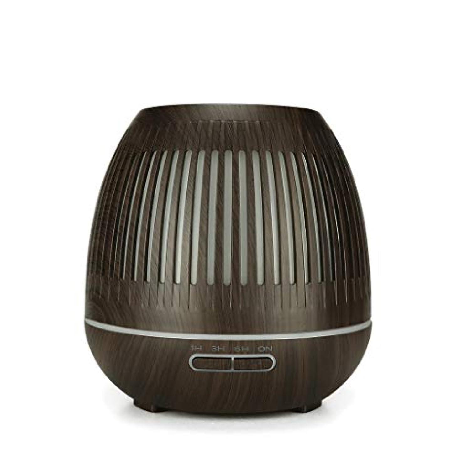 媒染剤復活させる振るう400ミリリットル超音波クールミスト加湿器付きカラーledライト用ホームヨガオフィススパ寝室ベビールーム - ウッドグレインディフューザー (Color : Dark wood grain)