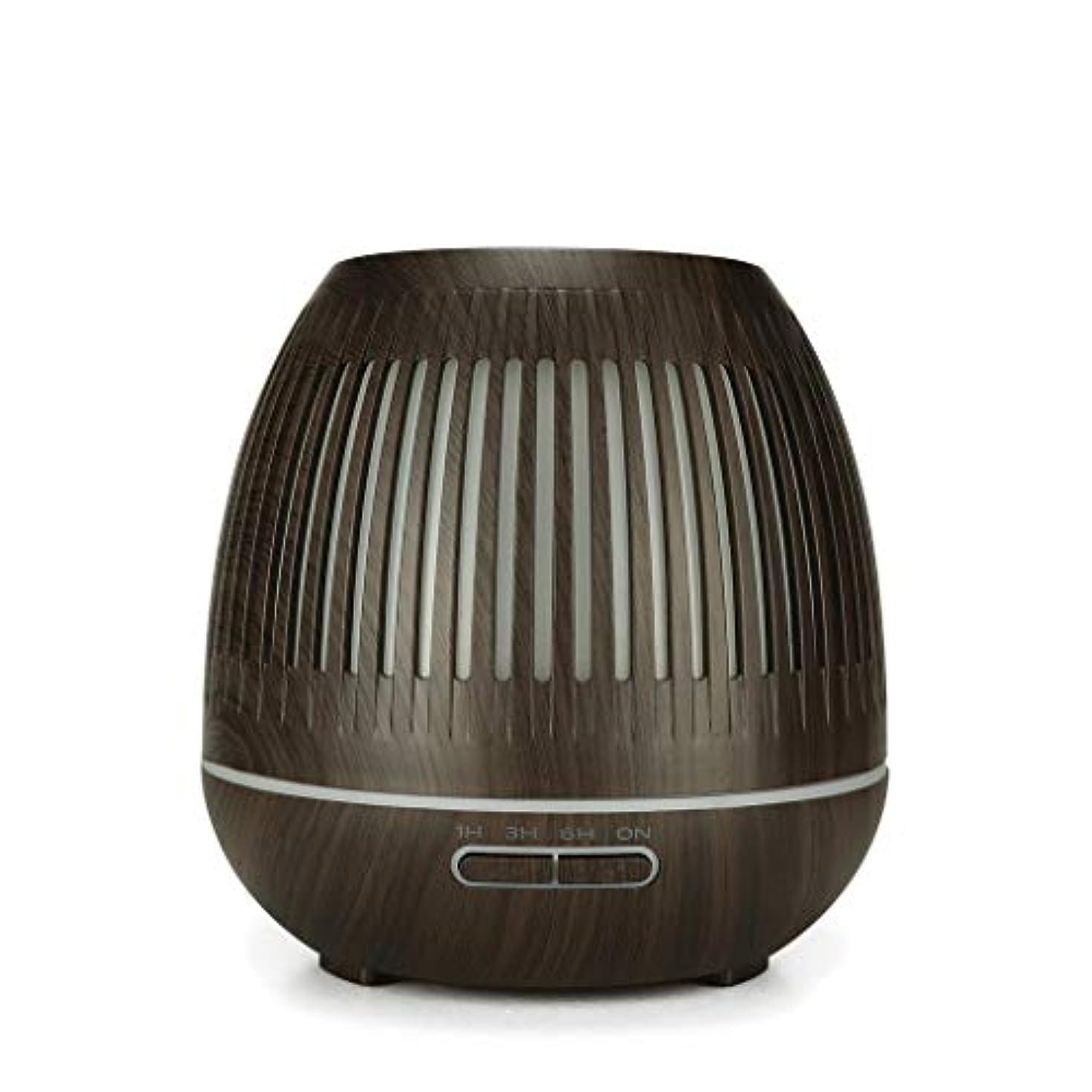 めんどりのため資金400ミリリットル超音波クールミスト加湿器付きカラーledライト用ホームヨガオフィススパ寝室ベビールーム - ウッドグレインディフューザー (Color : Dark wood grain)
