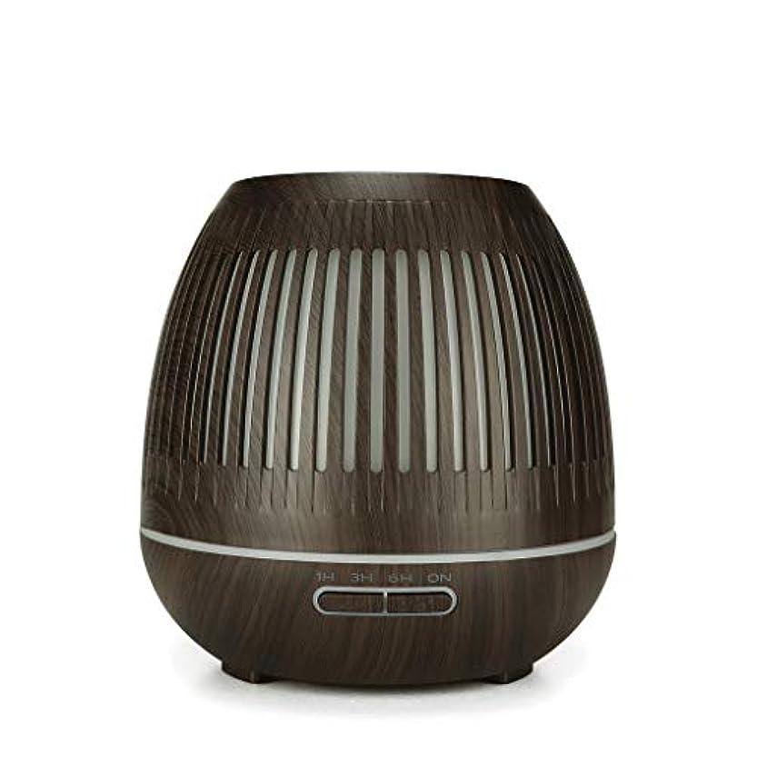リダクタービクター外交400ミリリットル超音波クールミスト加湿器付きカラーledライト用ホームヨガオフィススパ寝室ベビールーム - ウッドグレインディフューザー (Color : Dark wood grain)
