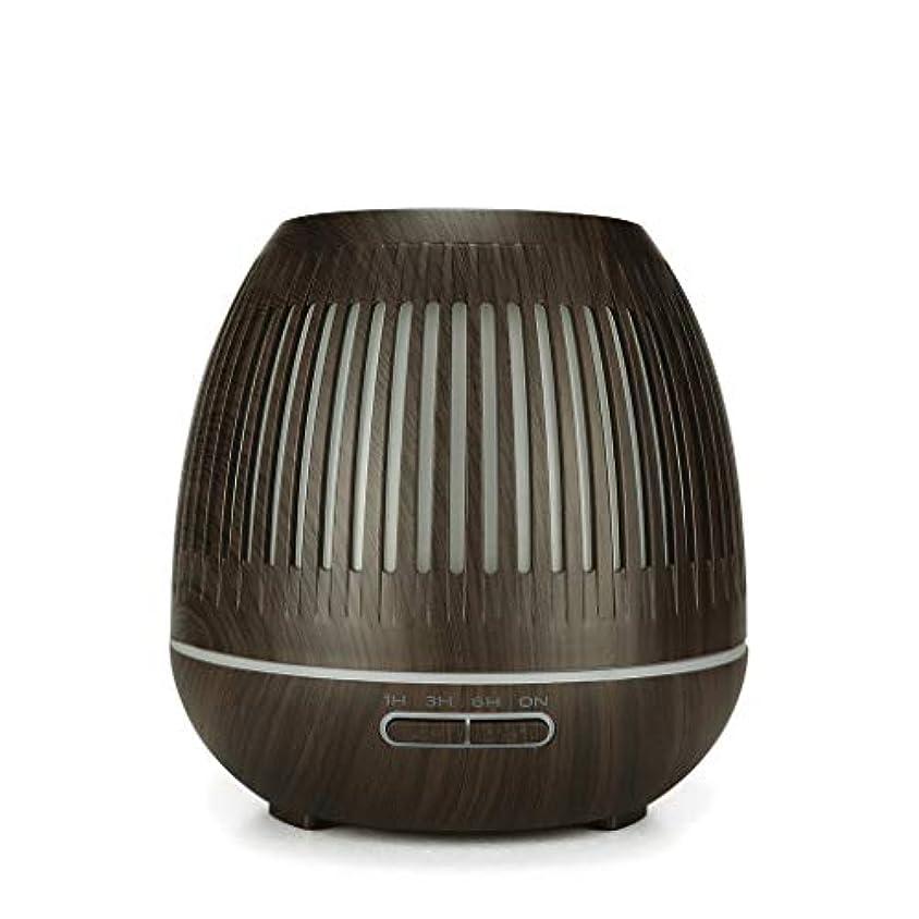 サンダー投げ捨てる認証400ミリリットル超音波クールミスト加湿器付きカラーledライト用ホームヨガオフィススパ寝室ベビールーム - ウッドグレインディフューザー (Color : Dark wood grain)