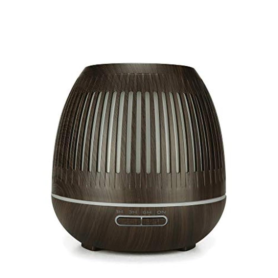 オフセットドラム神話400ミリリットル超音波クールミスト加湿器付きカラーledライト用ホームヨガオフィススパ寝室ベビールーム - ウッドグレインディフューザー (Color : Dark wood grain)