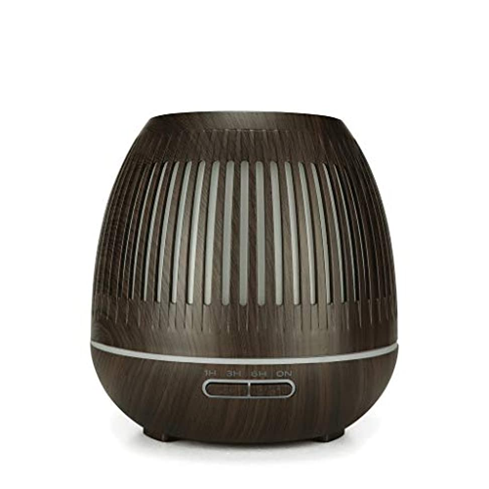 更新するメニュー食器棚400ミリリットル超音波クールミスト加湿器付きカラーledライト用ホームヨガオフィススパ寝室ベビールーム - ウッドグレインディフューザー (Color : Dark wood grain)