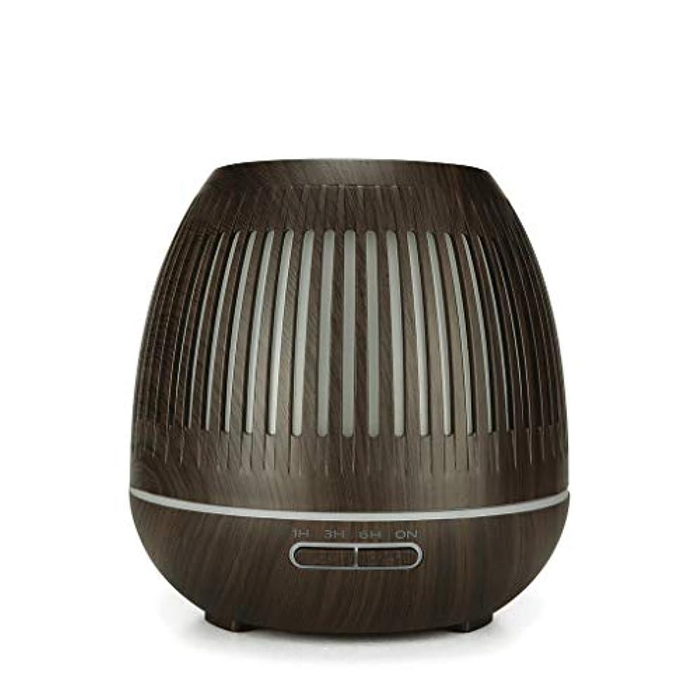 等しいリテラシーするだろう400ミリリットル超音波クールミスト加湿器付きカラーledライト用ホームヨガオフィススパ寝室ベビールーム - ウッドグレインディフューザー (Color : Dark wood grain)